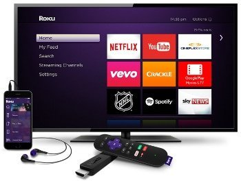 Roku Home Screen with Smartphone