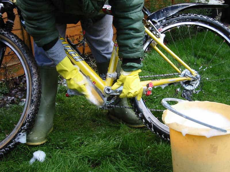 Use soap and water to clean your bike