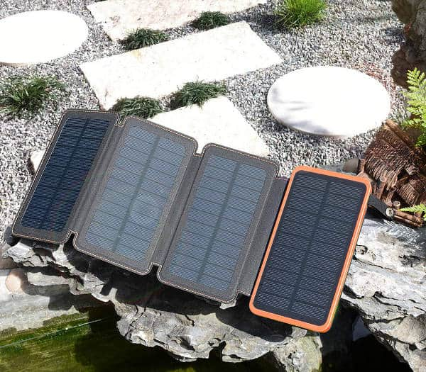 Solar Charger 25000mAh, Hiluckey Outdoor Portable Power Bank with 4 Solar Panels,