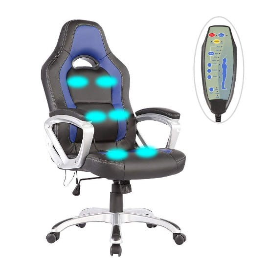 Race Car Heated Massage Office Chair Executive Gaming Chair
