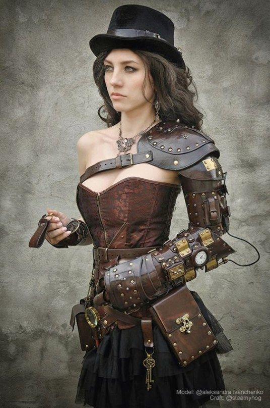 Steampunk leather girl