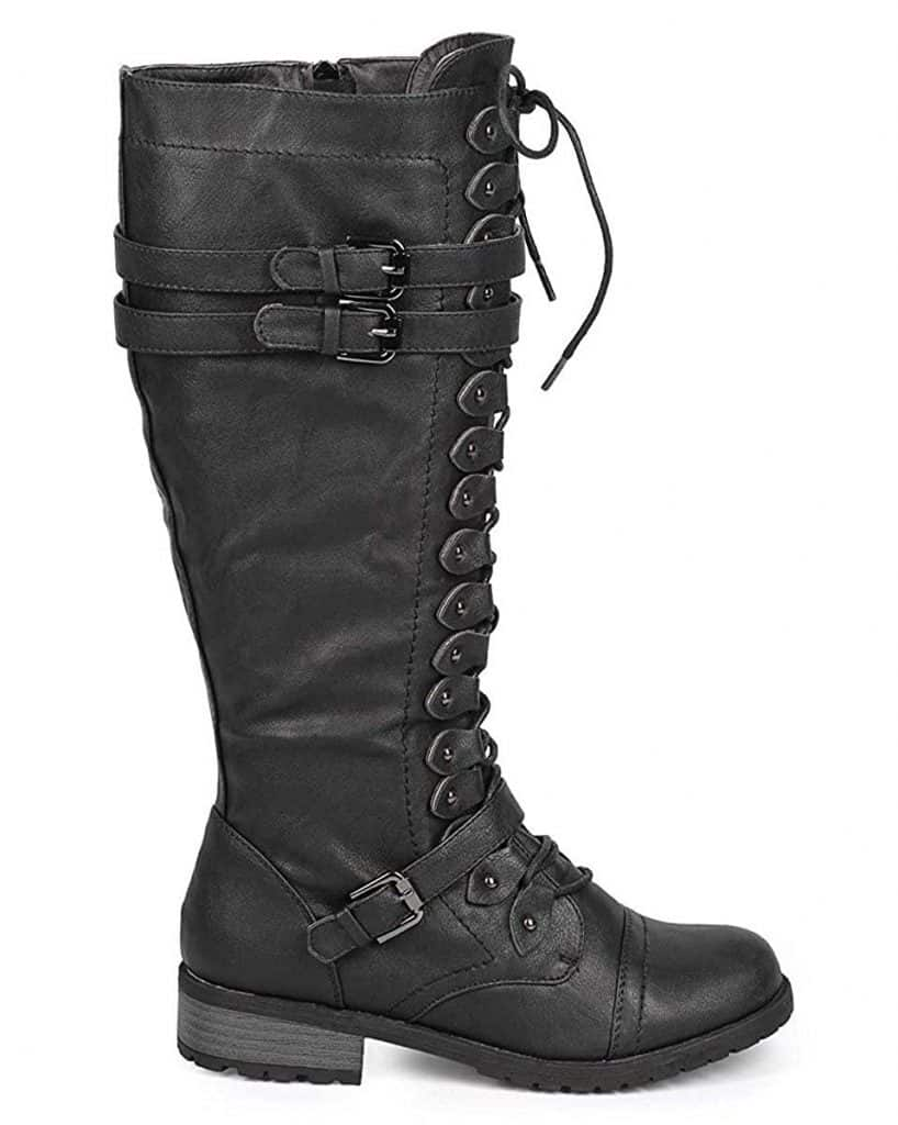 Wild Diva Timberly-65 Lace Up Knee Boots
