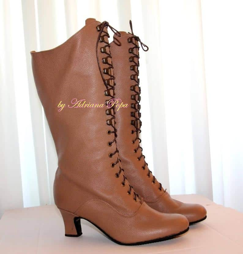 Victorian boots Light Brown knee-high boots
