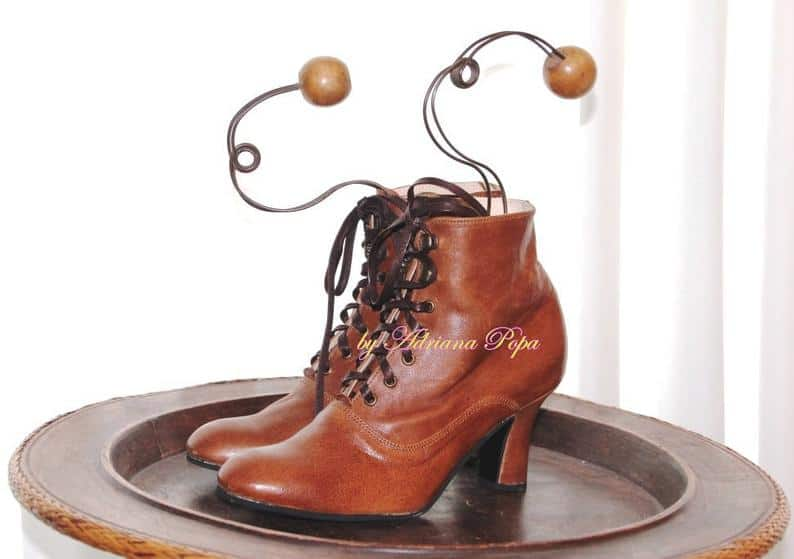 Brown Handcrafted Victorian Leather Ankle Booties