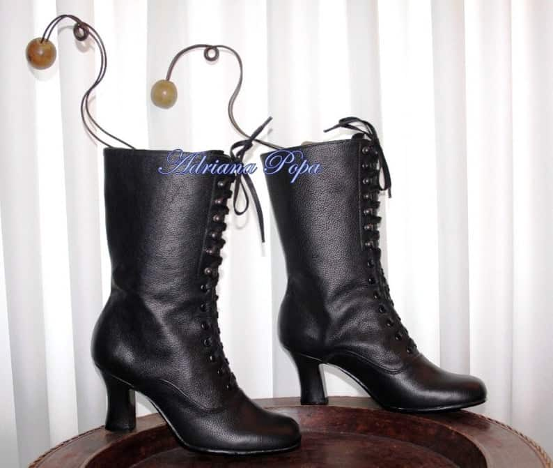 Victorian boots Black Leather Ankle Boots