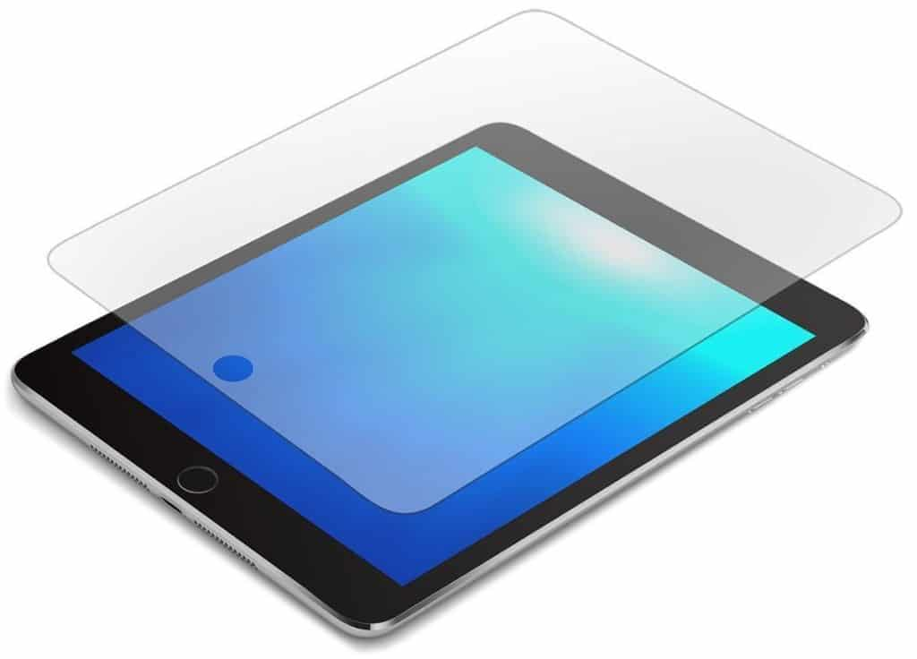 iPad with glass screen protector